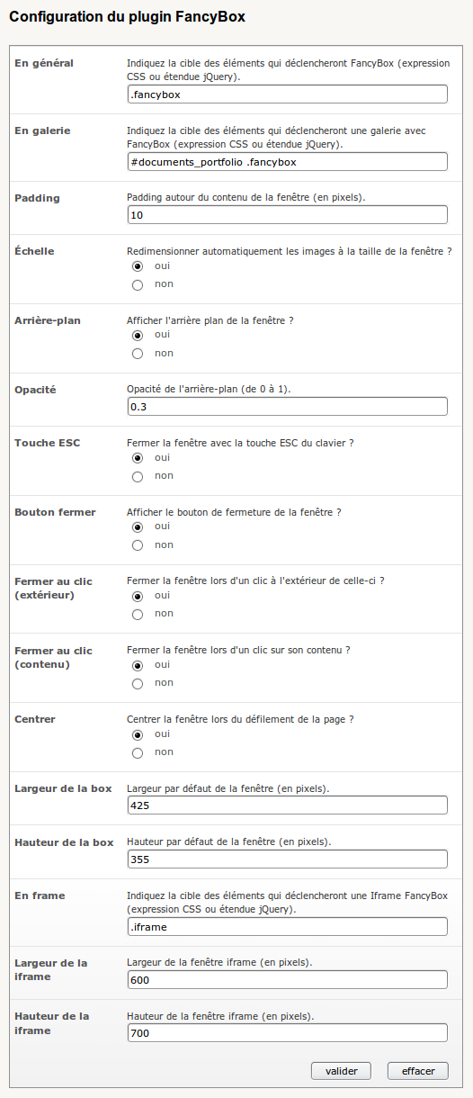 Page de configuration du plugin FancyBox