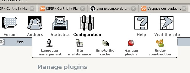 """Under Construction"" in ""configuration menu"